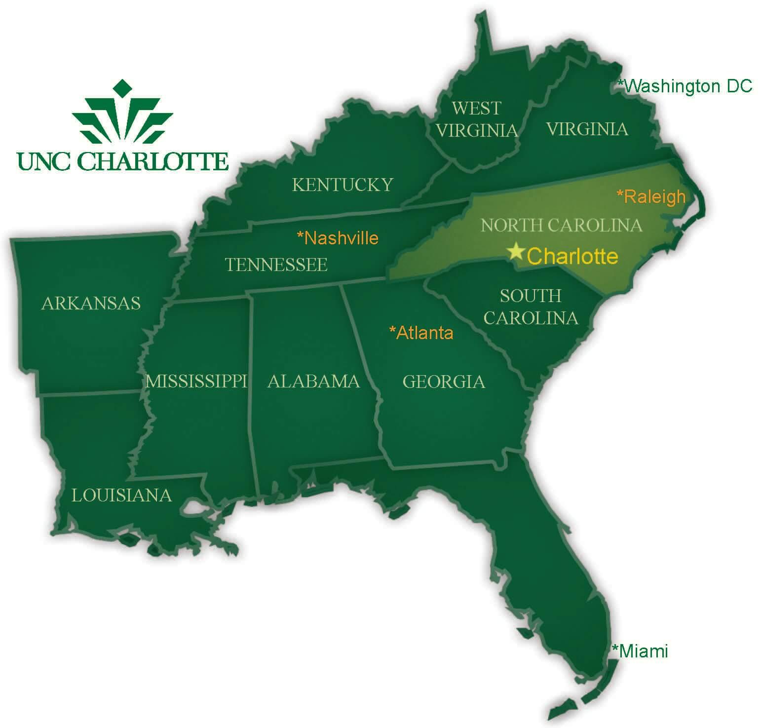 Visit Us Graduate Admissions Unc Charlotte - Us-map-charlotte-nc